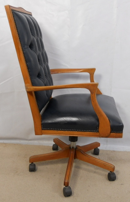Leather Upholstered Wooden Frame Swivel Office Armchair